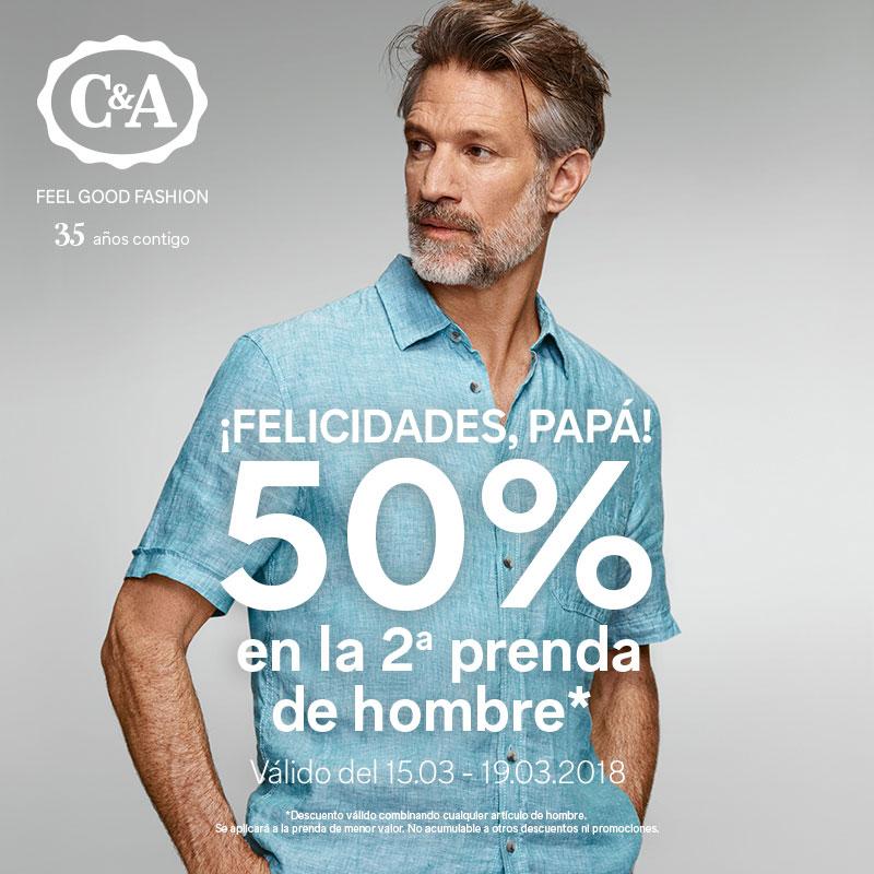 50% en la 2ª prenda de hombre