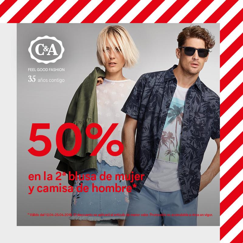 50% en la 2ª blusa de mujer y camisa de hombre