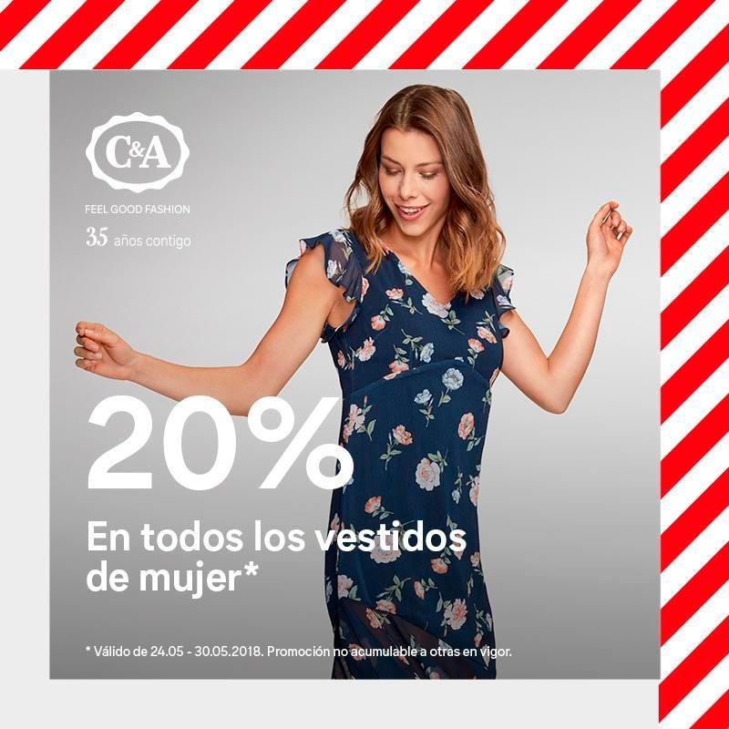 20% en todos los vestidos de mujer